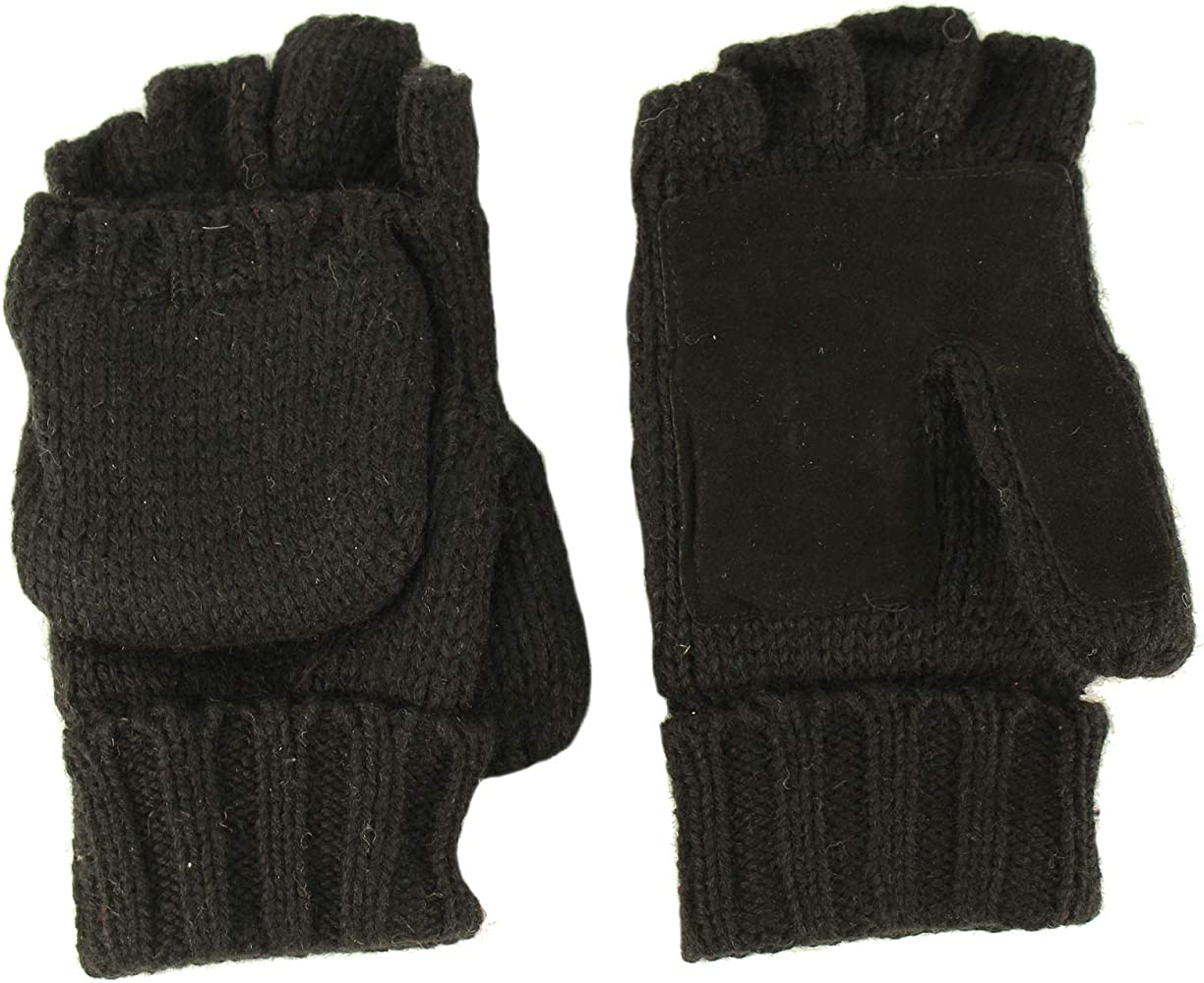 e3c3a46d099a9 Men's Thinsulate 3M Thick Wool Knitted Half Mitten Suede Palm Gloves S/M  Black