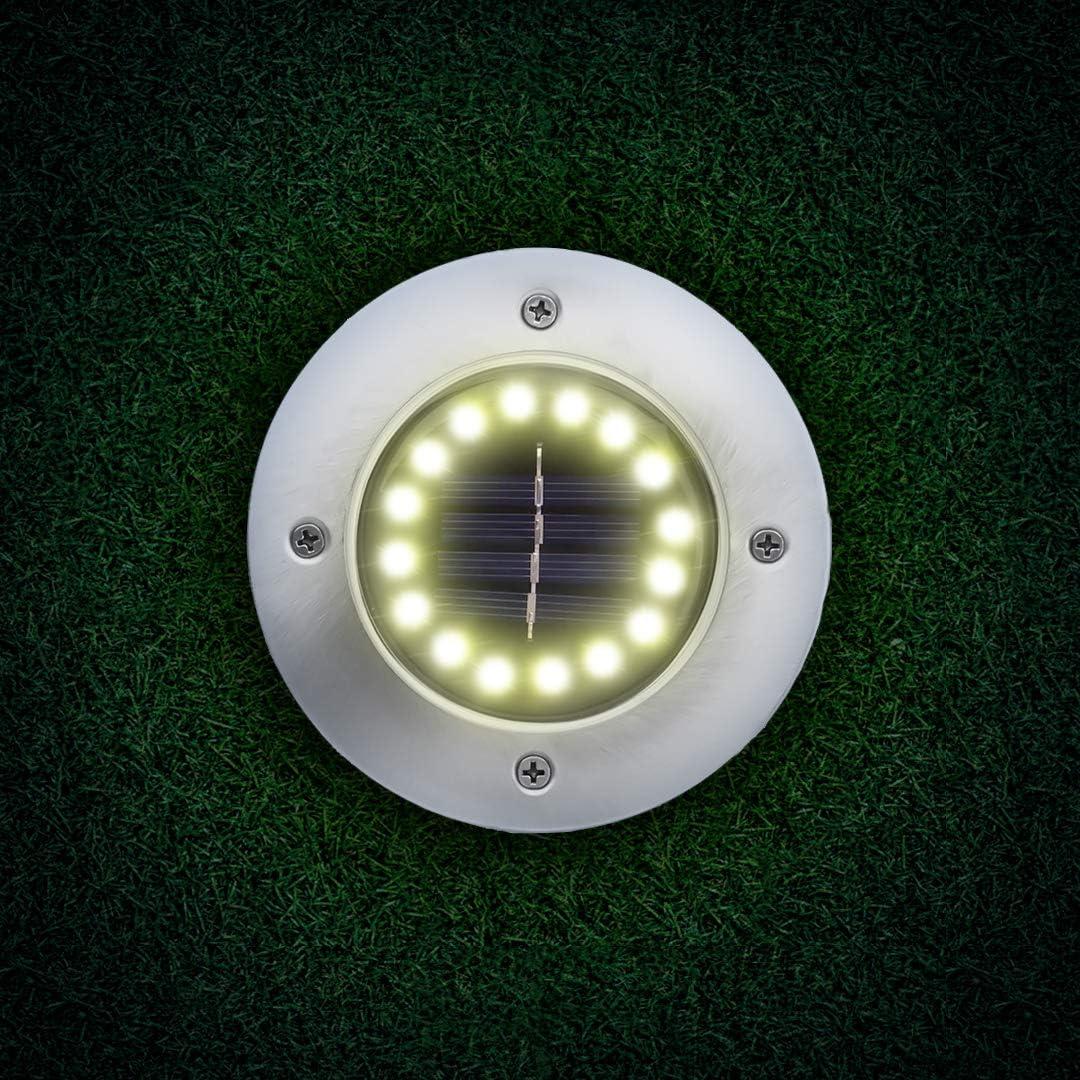 Camino 4 Unidades Luz fr/ía GARANTIA DE VIDA Luz Solar De Jard/ín 16 LED Luz 100 Lm Borde Piscina Jard/ín Patio 600 mAh Bater/ía Integrada Impermeable IP65 L/ámpara Para Exterior