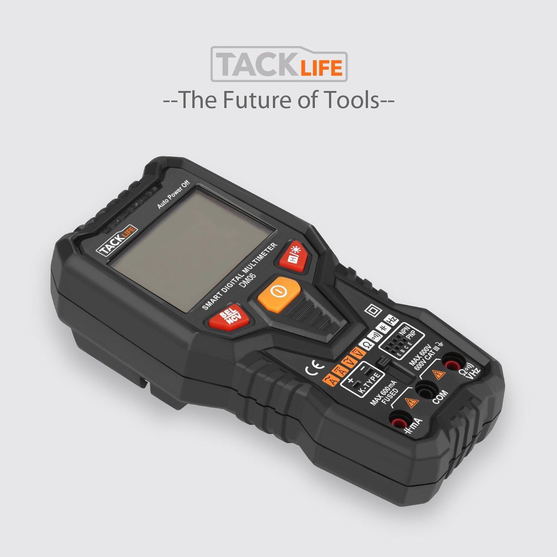 DM06//Multim/ètre Num/érique//Gamme Automatique 6000 Comptes//Mesure Intelligente /à Un Bouton//Test de Tension,Courant,Temp/érature,Transistors TACKLIFE Multim/ètre