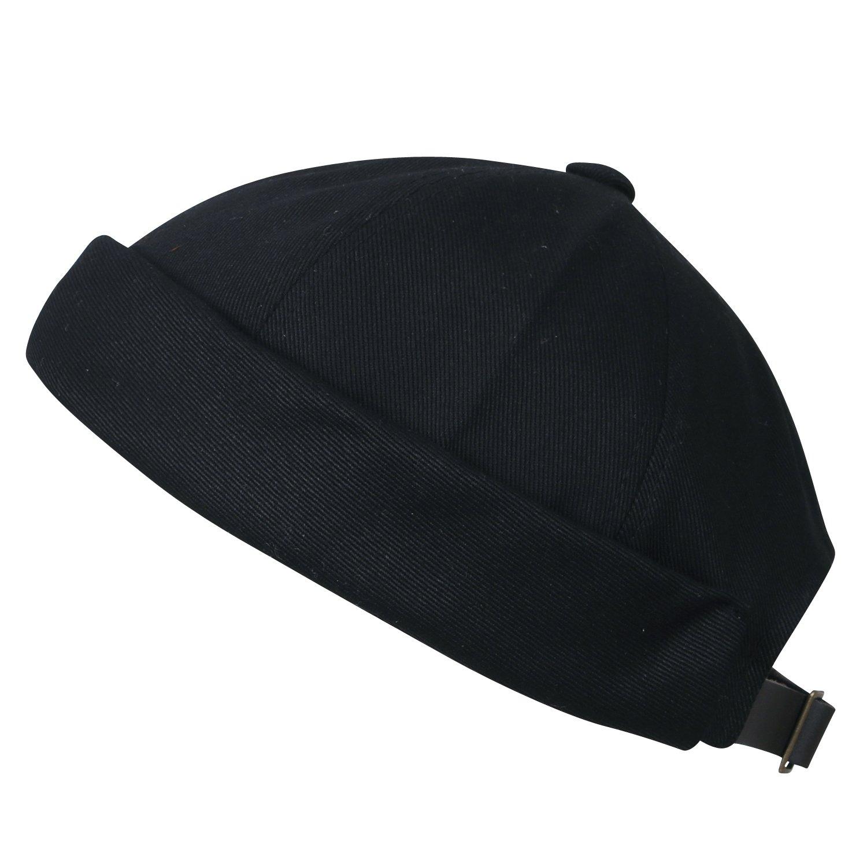 ililily Solid Color Cotton Short Beanie Strap Back Casual Cap Soft Hat, Black