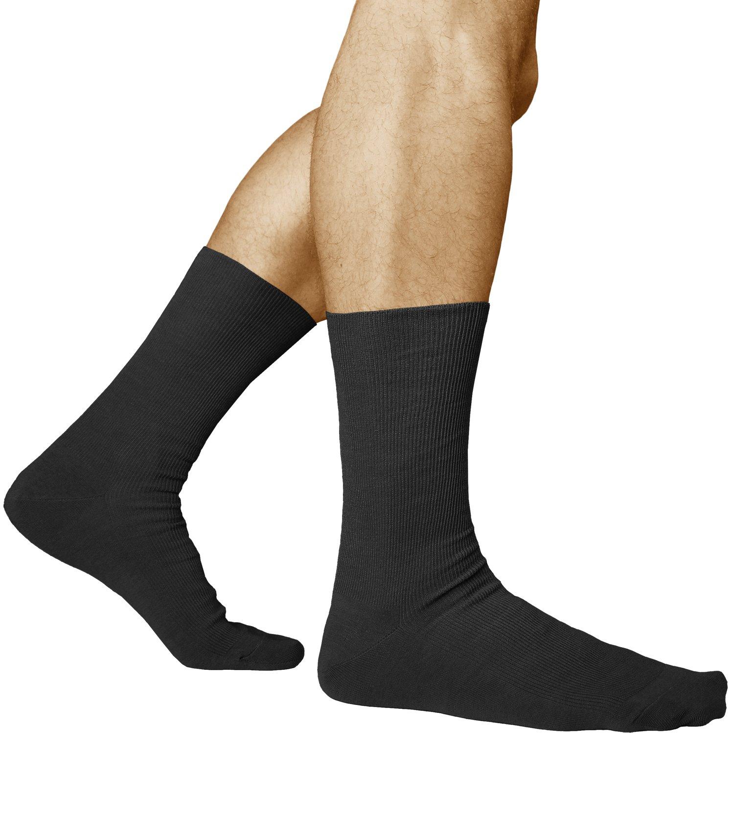 3 Pairs Men's Loose Top Non Elastic Socks for Tired Sore Feet, Combed Cotton, Vitsocks Health, 12-13, black