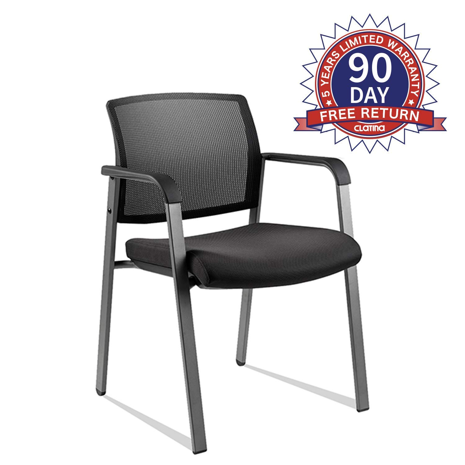 Mesh Back Stack Arm Chairs with Upholstered Fabric Seat and Ergonomic Lumber Support for Office School Church Guest Reception Black by CLATINA