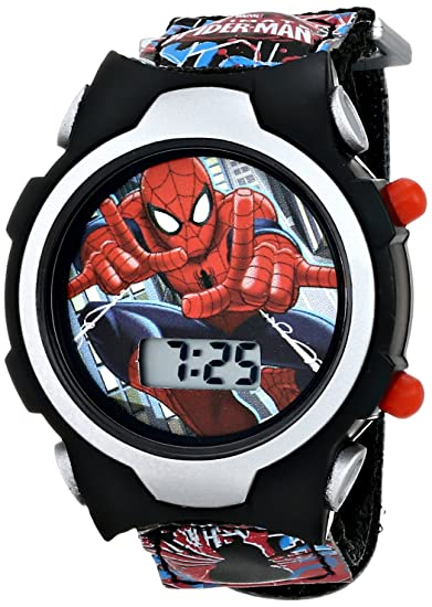 Marvel Kids spmkd503 Ultimate Spiderman Digital pantalla reloj de cuarzo negro