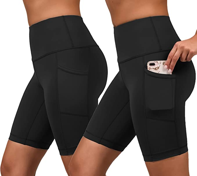 """8/"""" Tummy Control Stretchy/Yoga Pants for Running HLTPRO High Waist Biker Shorts for Women Workout Cycling"""