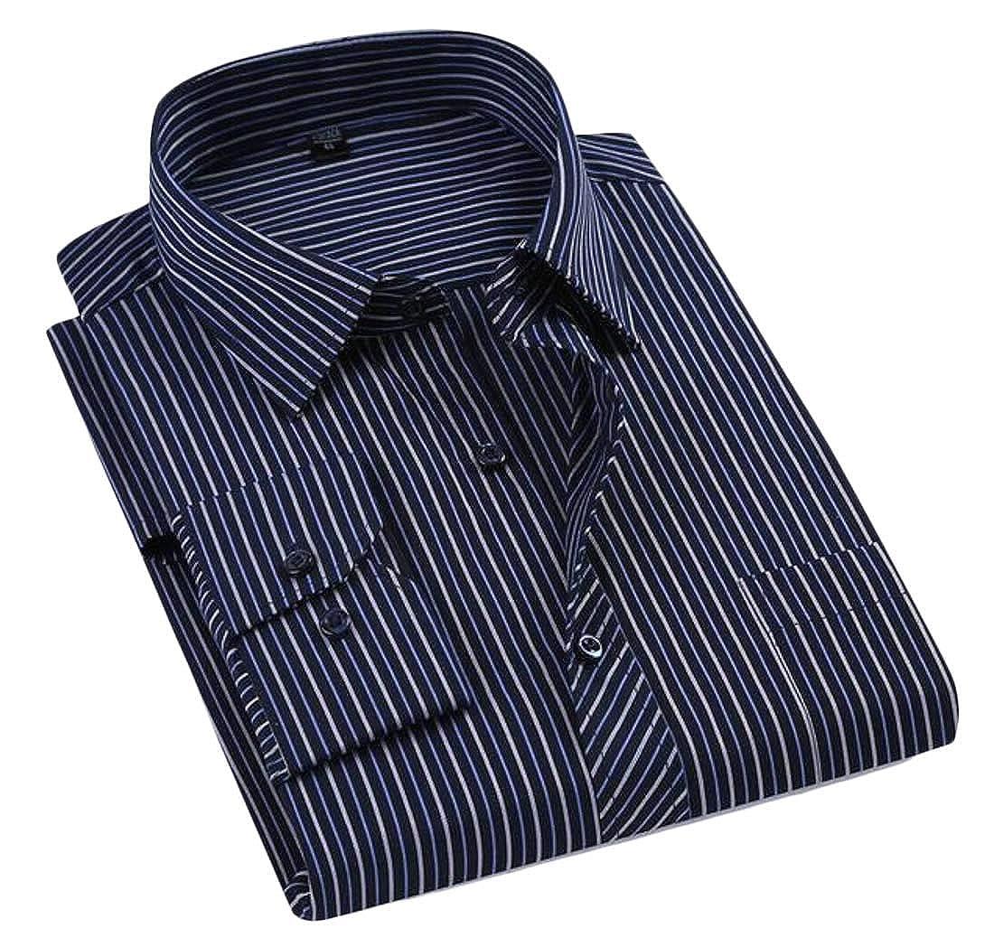 Wofupowga Mens Stripe Standard-fit Long-Sleeve Dress Shirts