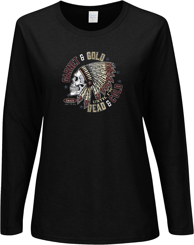Smack Apparel Florida State Football Fans Sm-2x Garnet and Gold Till Im Dead and Cold Garnet Ladies Shirt
