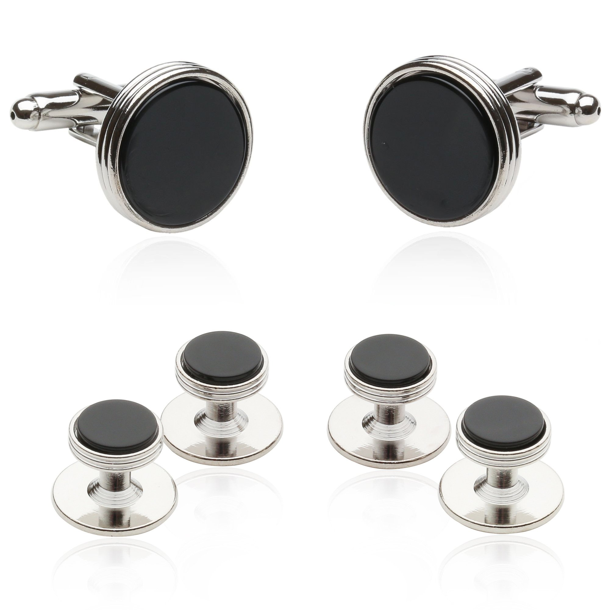 Cuff-Daddy Tuxedo Cufflinks and Studs Formal Set in Black Onyx and Silver with Presentation Box