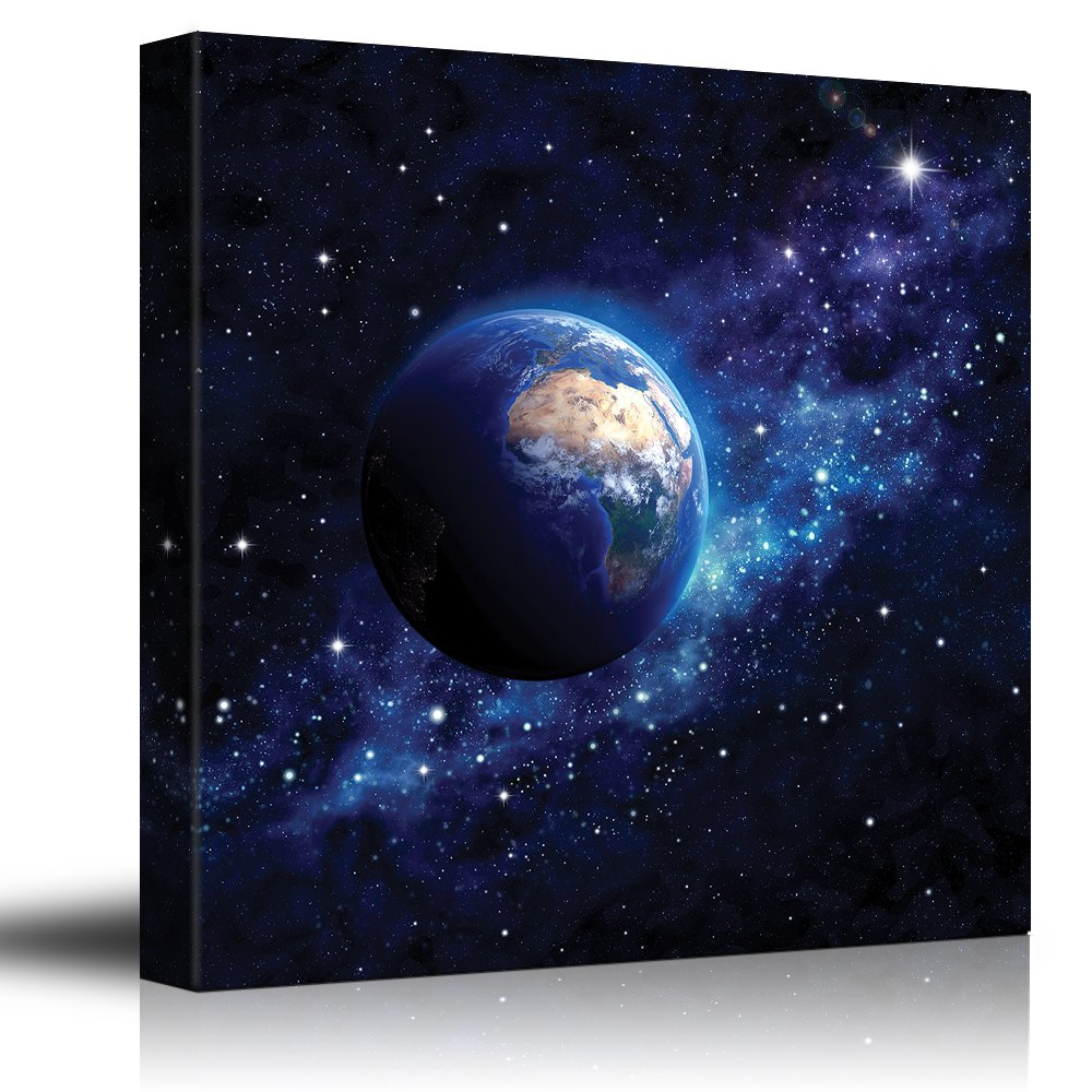 Canvas Art Home Decor Planet Earth on a Blue Starry Galaxy 24x24 inches