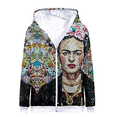 Goyfeelip Felpa con Cappuccio con Stampa 3D Frida Kahlo Hoodie Donna con Cappuccio in Felpa con Cappuccio Harajuku