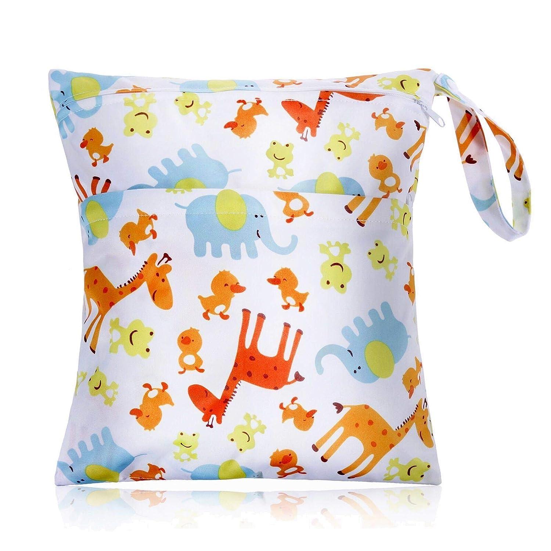 Faburo Baby Sac à couches imperméable lavable en tissu organiser avec fermeture Éclair et chiffon humide