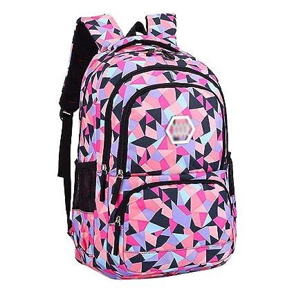 ac9b492023 Amazon.com  Backpack - Waterproof School Backpack Girl Middle School Bag  Cute Bag Backpack Female Diamond  Five Colors Optional  (Color   A