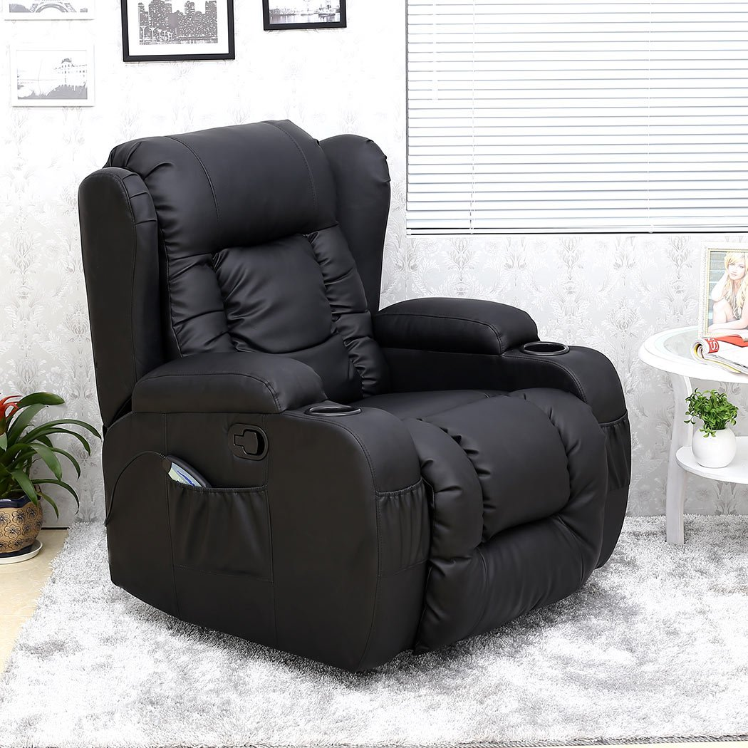 CAESAR 10 IN 1 WINGED LEATHER RECLINER CHAIR ROCKING MASSAGE SWIVEL HEATED GAMING ARMCHAIR (Black) Amazon.co.uk Kitchen u0026 Home : best gaming recliner - islam-shia.org