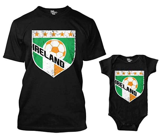 b48a1a786da Ireland Retro Soccer Crest Matching Bodysuit   Men s T-Shirt (Black Black
