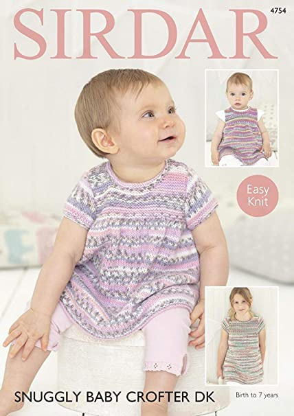 7f6e4f02f Sirdar 4754 Knitting Pattern Baby & Girls Easy Knit Dresses in Sirdar  Snuggly Baby Crofter DK: Amazon.co.uk: Kitchen & Home
