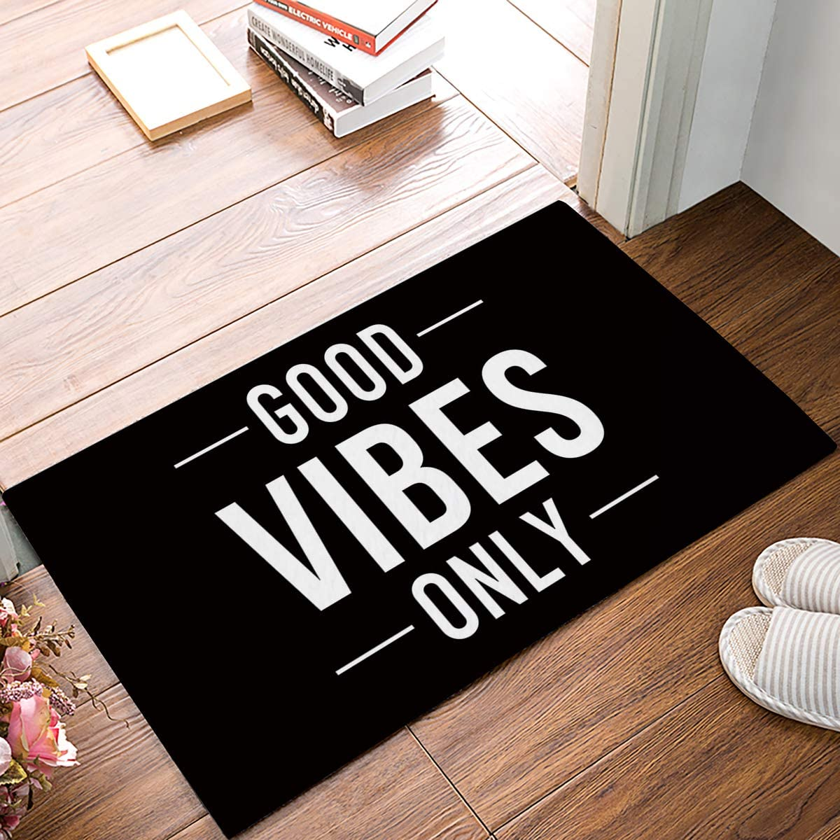 Funny Quotes Door Mat, Good Vibes Only Black and White, Decorative Felt Floor Mat with Non-Skid Backing, Fit for Home Indoor Kitchen (20 x 31.5 Inch)