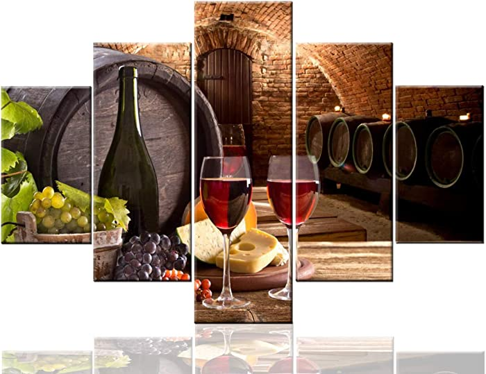 Canvas Wall Art Wine Bottle and Wineglasses with Wooden Barrel Pictures for Living Room Multi Panel Prints Artwork Modern Paintings House Decor Framed Gallery-Wrapped Ready to Hang(60''Wx40''H)