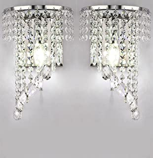 Fuloon modern k9 crystal wall lights fashion wall sconce hallway weerun a pair left right 2pcs e12 modern k9 crystal mirror stainless steel wall lights aloadofball Image collections