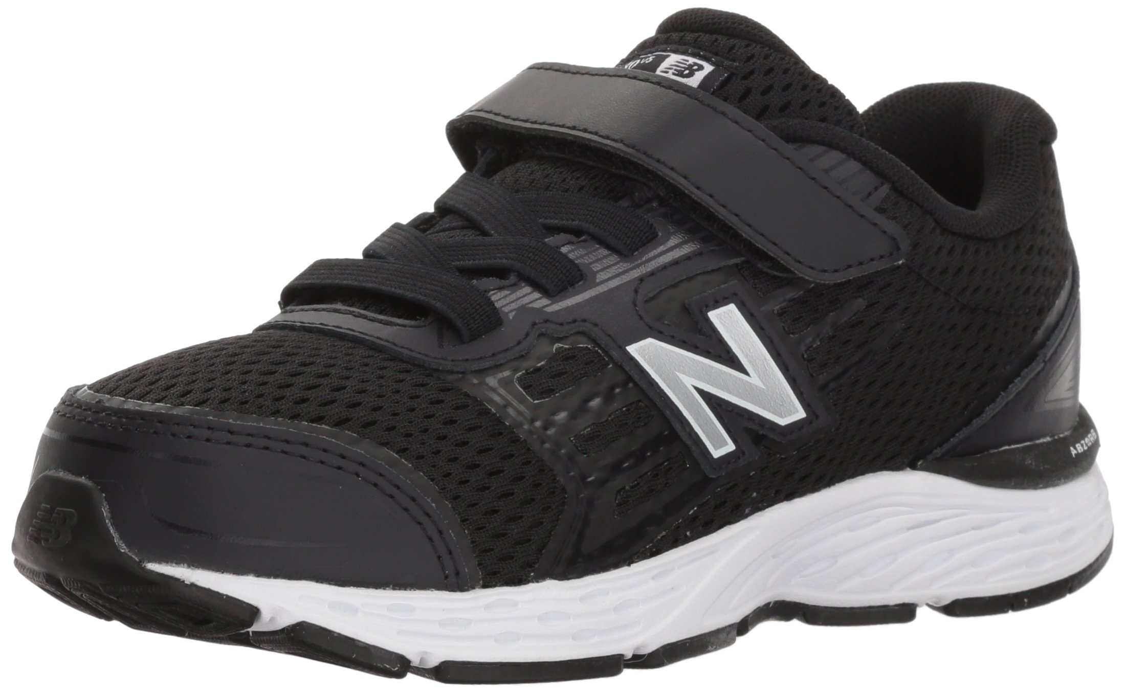 New Balance Boys' 680v5 Hook and Loop Running Shoe, Black/White, 9 M US Toddler by New Balance (Image #1)