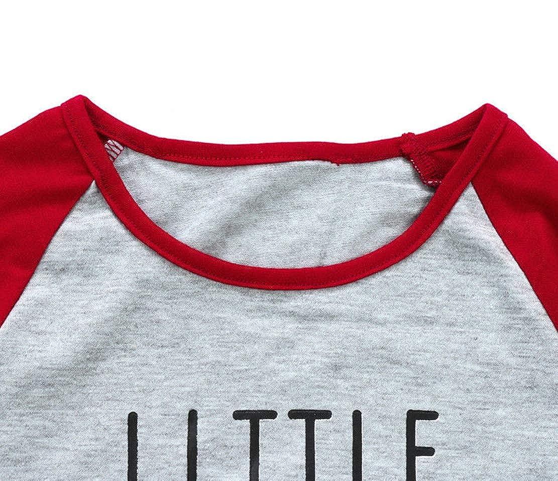 Family Matching 2 Pieces Letter Print Christmas Pajamas Sets Bear Print T-Shirt+Snowflake Print Long Pants Cotton