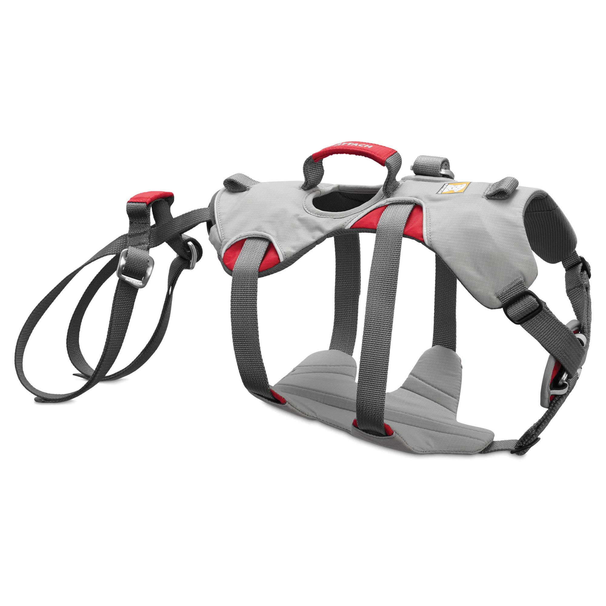 RUFFWEAR - Doubleback, Strength-Rated Belay Dog Harness, Rock Climbing & Backpacking, Strength-Rated to 2,000 lbf/8.9 kN, Cloudburst Gray, X-Small
