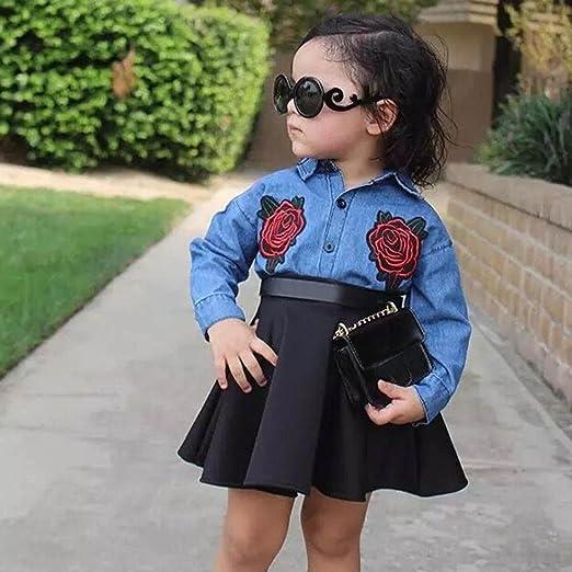 Vovotrade Kids Baby Girls Partido niños Falda Vestido de Mezclilla Chica Outfit Clothes Camiseta con Bordado Floral Tops + Conjunto de Falda Outfit Layered ...