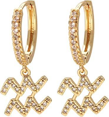 Zodiac Sign Gold Plated Hoop Pair of Earrings