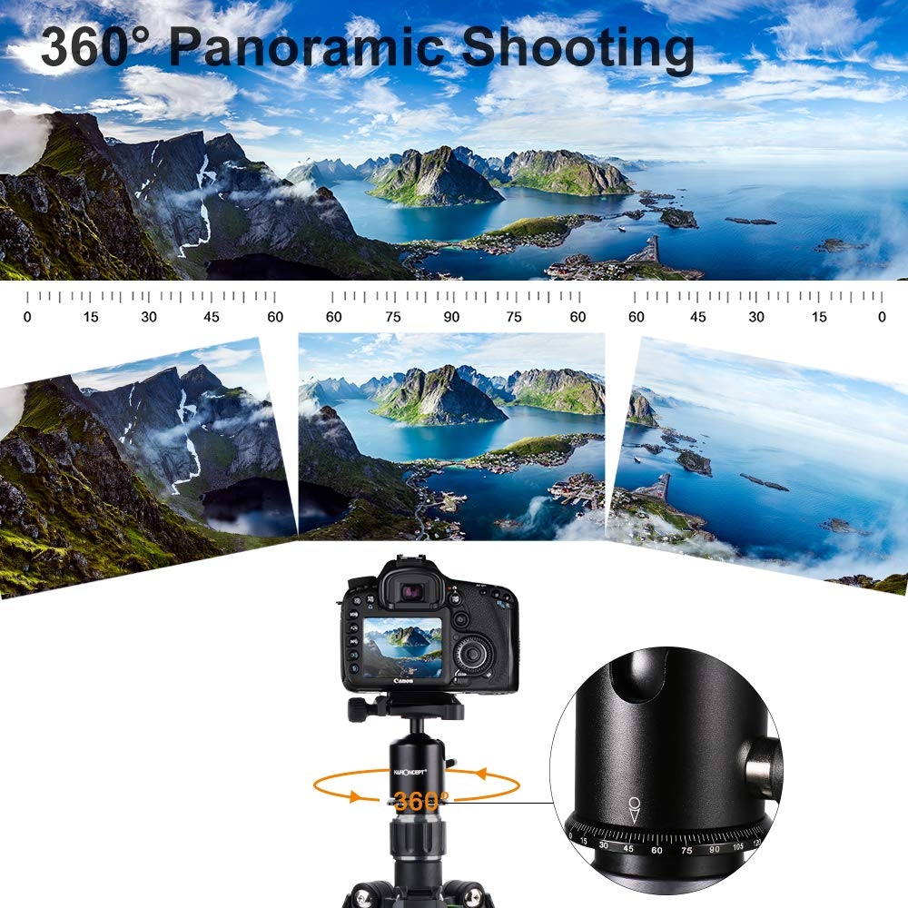 K/&F Concept Professional Carbon Fiber Camera Tripod with 360 Degree Ball Head Quick Release Plate for DSLR Camera Load up to 26.5 pounds//12 kilograms