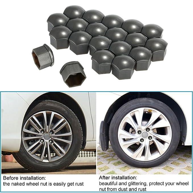 KKmoon 20Pcs 17mm Tapa Tuerca Perno Removal Herramienta para Neumáticos Coche VW AUDI: Amazon.es: Coche y moto