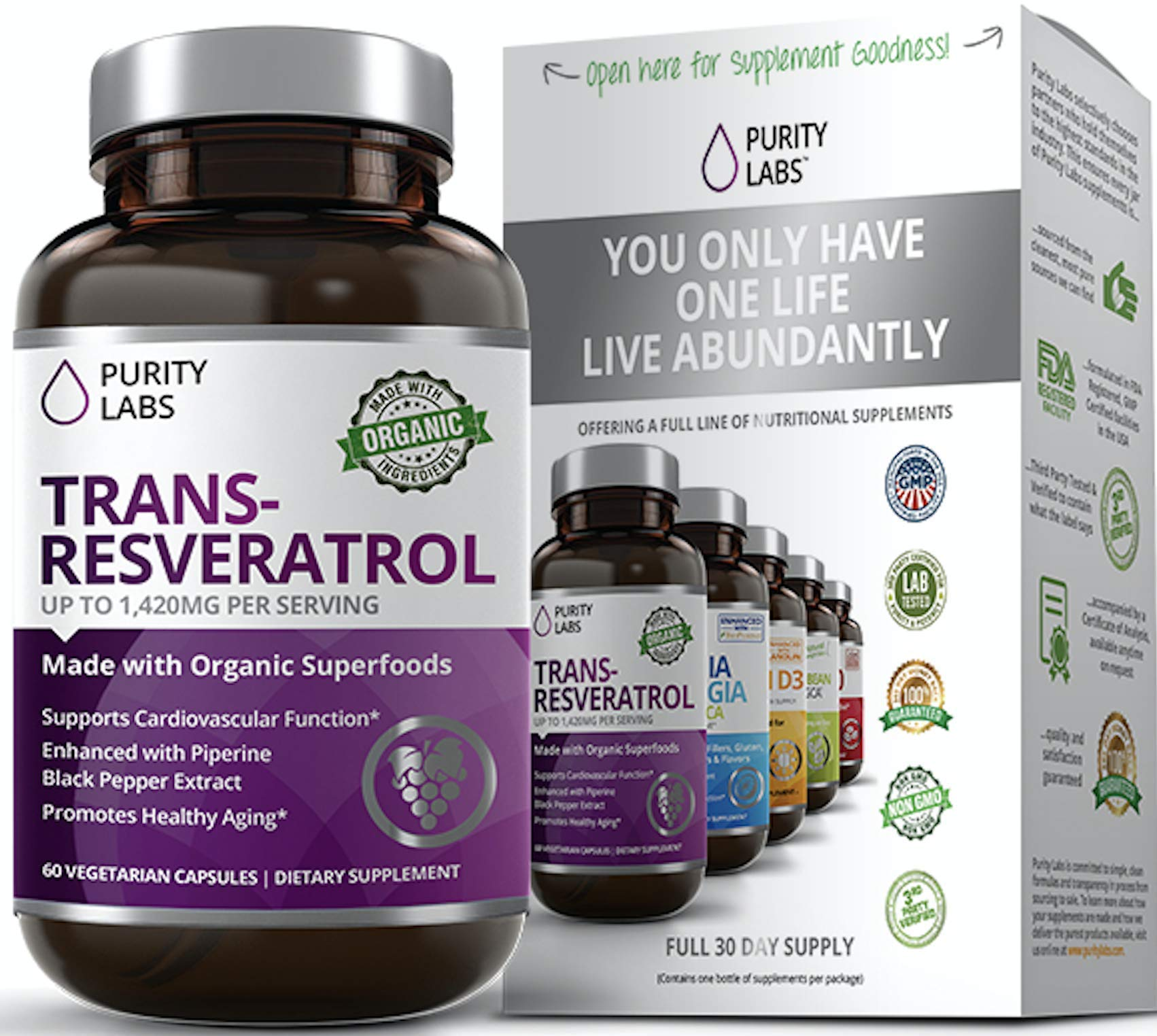 Abundant Health Trans-Resveratrol Anti-aging Blend Supplement with Green Tea, Acai, Grape Seed Extract, and Antioxidant Vitamin C, 60 Capsules by Purity Labs