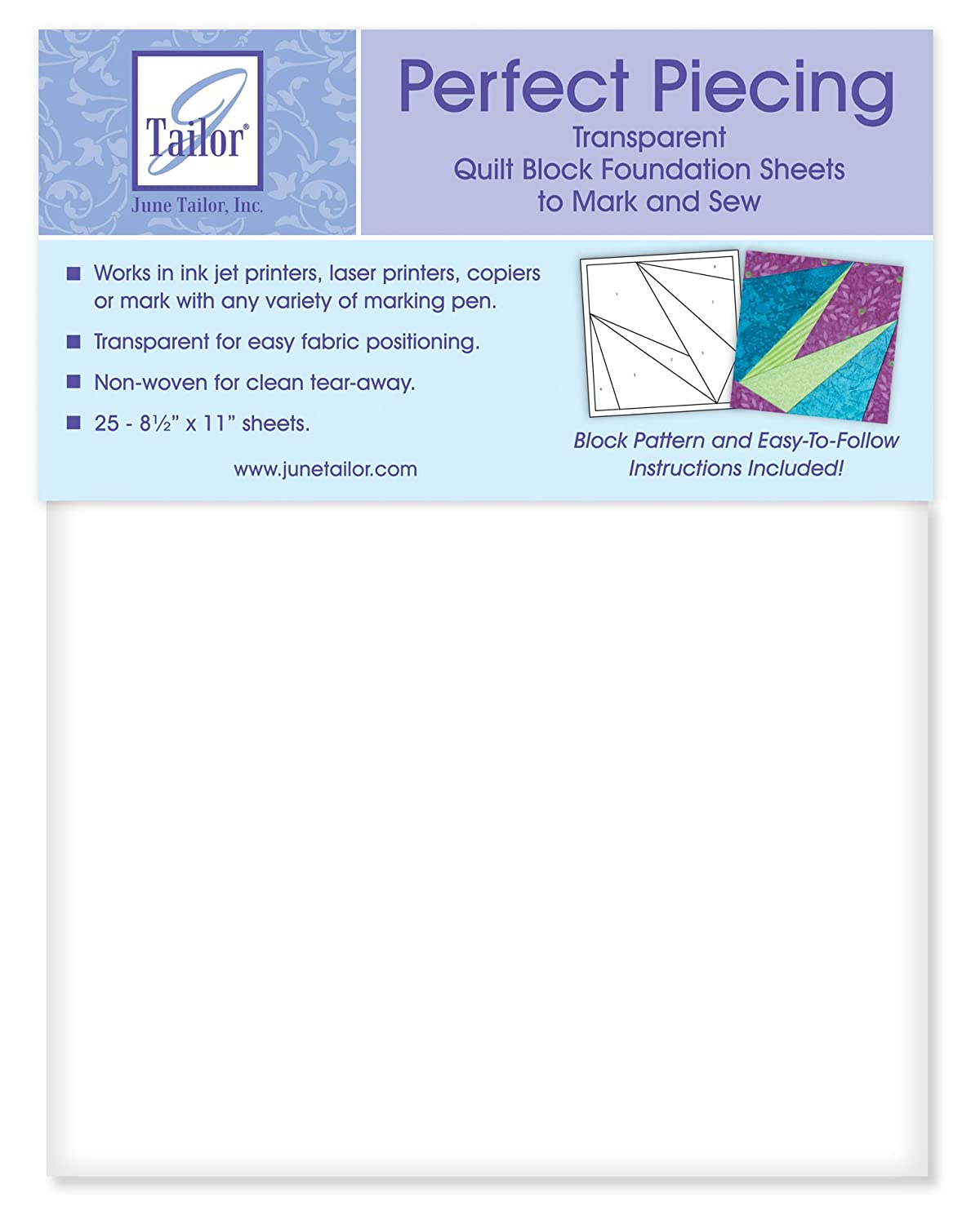June Tailor 8-1/2-Inch by 11-Inch Perfect Piecing Quilt Block Foundation Sheets, 25-Pack