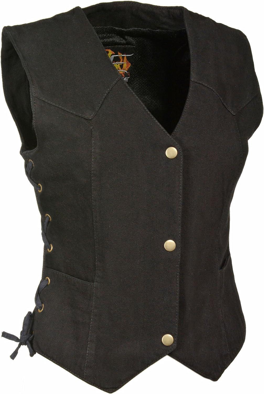 Milwaukee- Ladies Side Lace 4 Snap Front Denim Vest (Black)