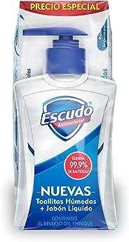 Escudo Escudo Antibacterial Jabón Líquido Para Manos 225ml Y Toallitas Húmedas 50 Piezas, color, 225 ml, pack of/paquete de