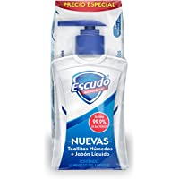 Escudo Antibacterial Jabón Líquido para Manos 225Ml Y Toallitas Húmedas 50 Piezas, Color