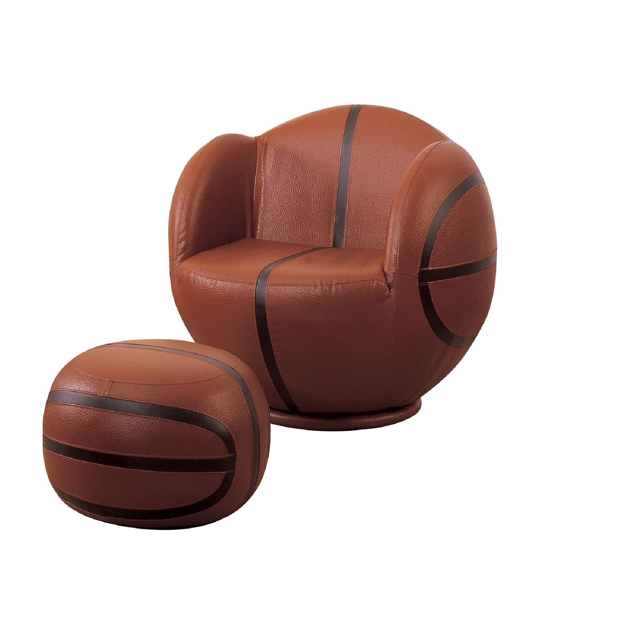 Major-Q 2 Pc Pack Youth Style Basketball Sport Theme 360 Degrees Swivel Chair and Ottoman Set 9005527