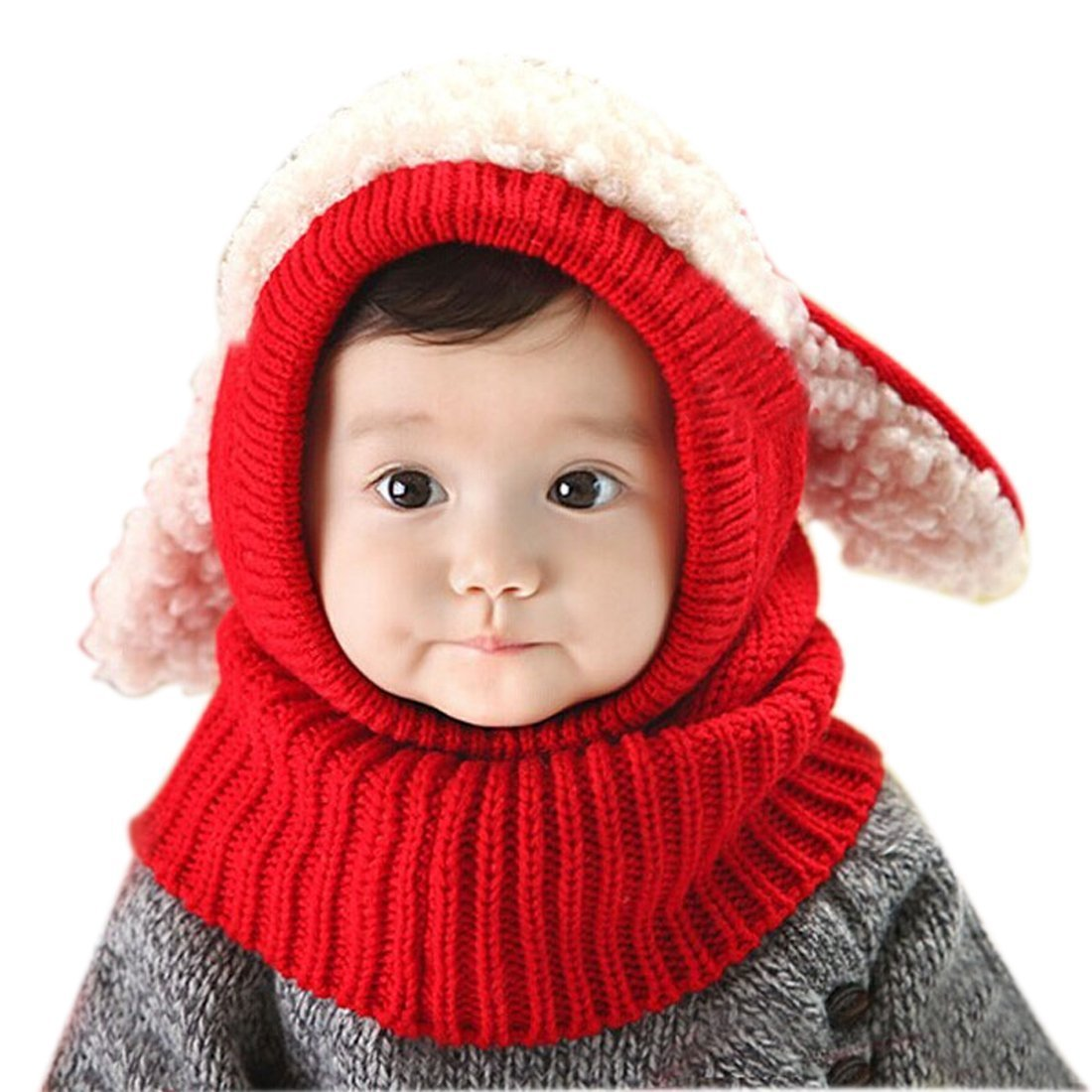 Crazy Genie Unisex-Baby Toddler Winter Beanie Warm Hat Hooded Scarf Earflap Knitted Cap Girls Boys