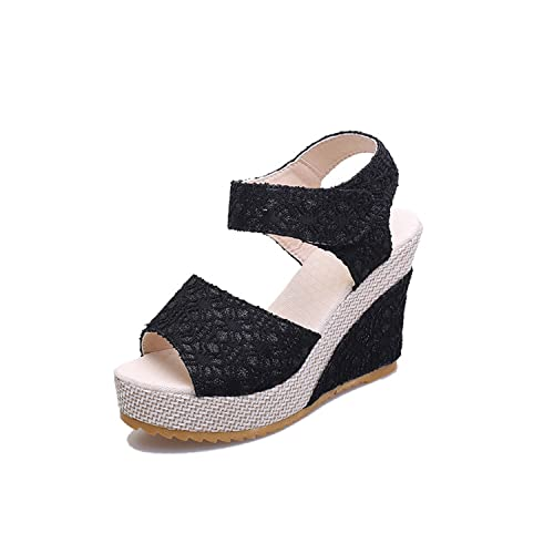 34a33b49176 Image Unavailable. Image not available for. Color  Good-memories Summer  Korean Version Explosion net Cloth Fish Mouth Shoes Wedge Sandals Women s  Fashion