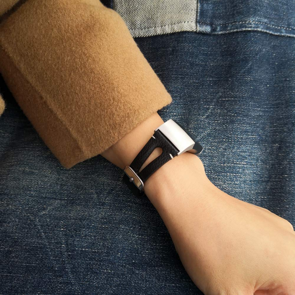 Areziir Black, Small Airzeer Slim Leather Bands Compatible