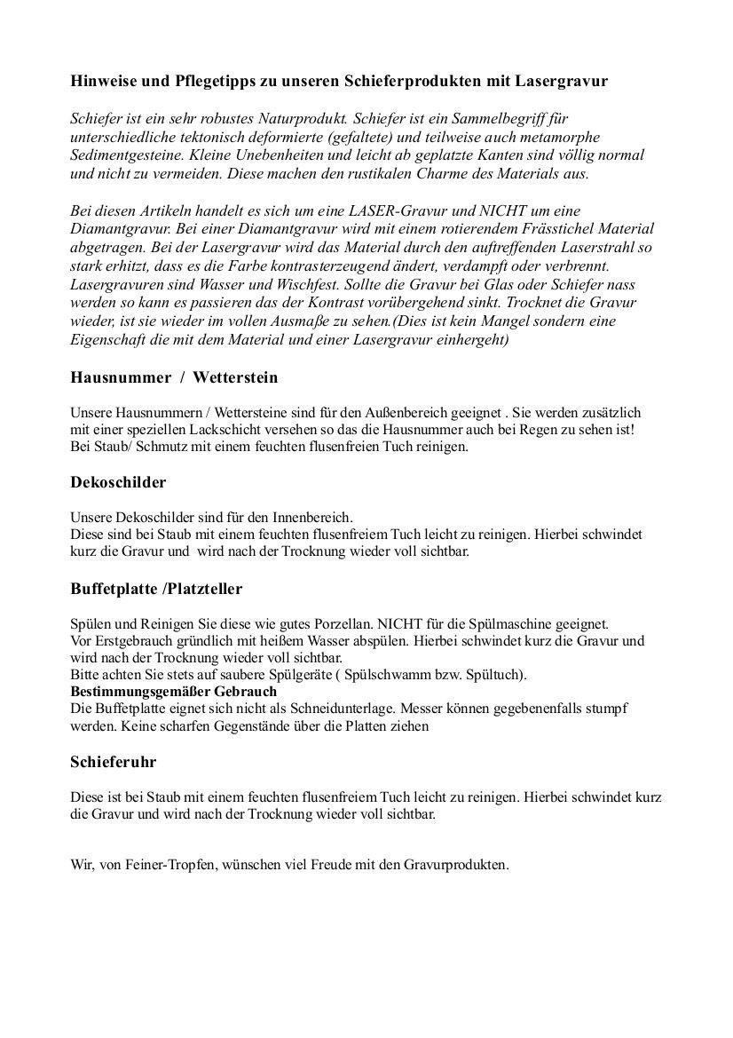 Feiner-Tropfen Hausnummer Schiefer Gravur BK schwarz Edelstahl Haus
