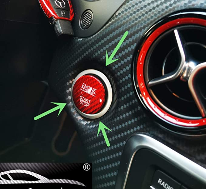 Max Auto Carbon Rot Carbon Look Gfk Start Stop Knopf Button Cover Passend Mercedes Benz Amg A45 Cla45 Gla45 C63 C43 C63s E63 S63 Glc Auto