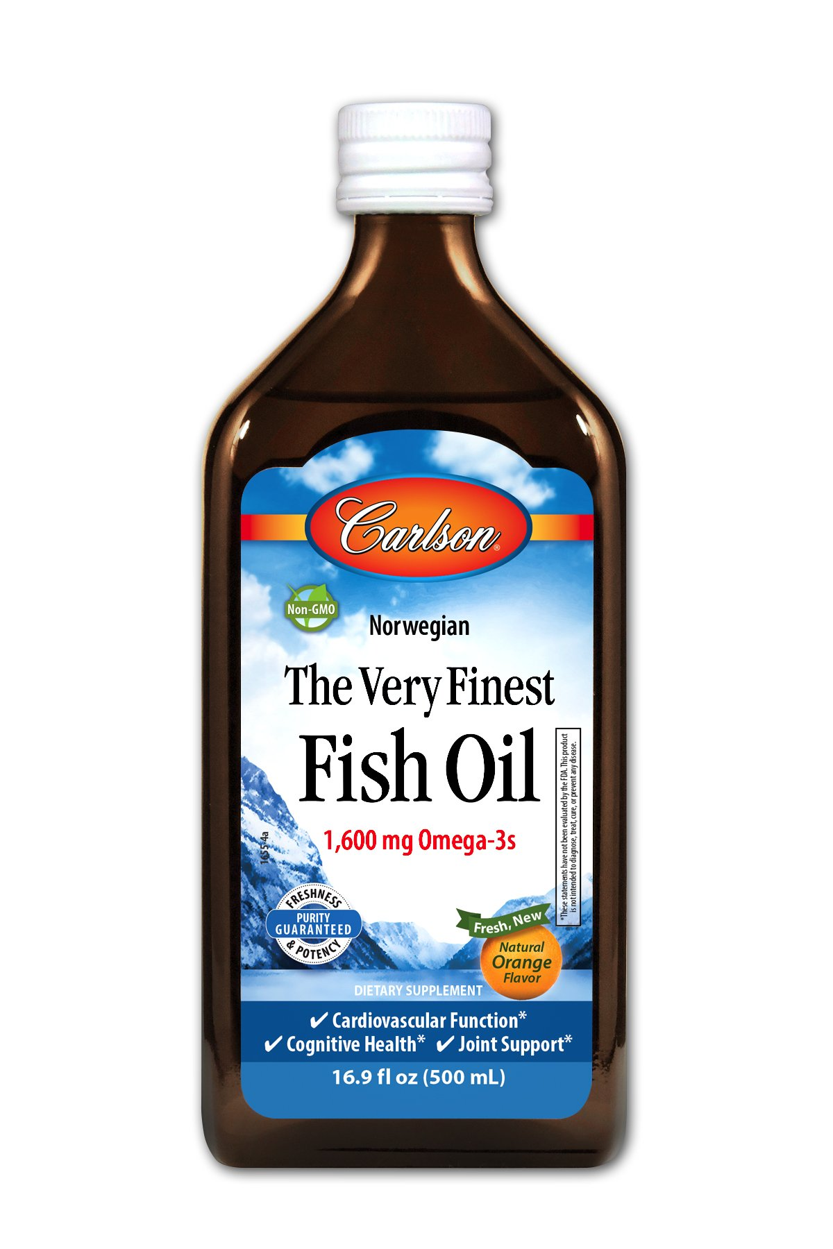 Carlson Norwegian The Very Finest Fish Oil, Orange, 1,600 mg Omega-3s, 500 mL