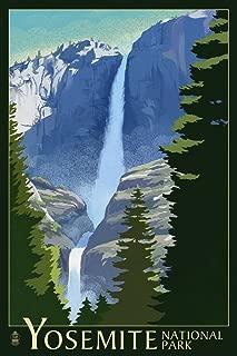 product image for Yosemite National Park, California, Yosemite Falls, Lithography 50664 (16x24 SIGNED Print Master Art Print, Wall Decor Poster)