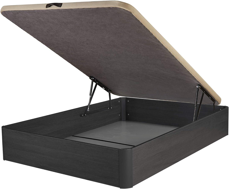 DHOME Canape Abatible Tapizado 3D 4 válvulas Maxima Calidad Esquinas canapé Madera (150x190 Ceniza, 30mm)