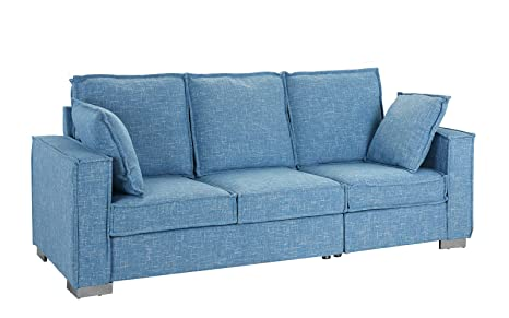 Classic Linen Fabric Sofa, Living Room Couch (Light Blue)