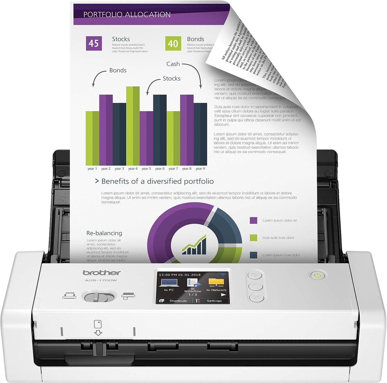 Brother ADS-1700W Scanner 600 x 600 DPI Scanner ADF Noir, Blanc A4 - Scanners (215,9 x 863 mm, 600 x 600 DPI, 1200 x 1200 DPI, 48 bit, 24 bit, 25 ppm)