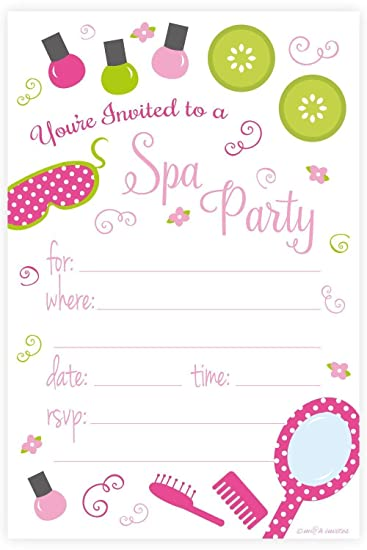 Amazon spa birthday party invitations fill in style 20 count amazon spa birthday party invitations fill in style 20 count with envelopes by mh invites toys games stopboris