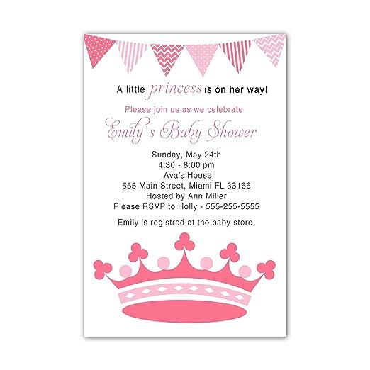 30 Invitaciones Para Fiesta De Baby Shower Con Corona Rosa