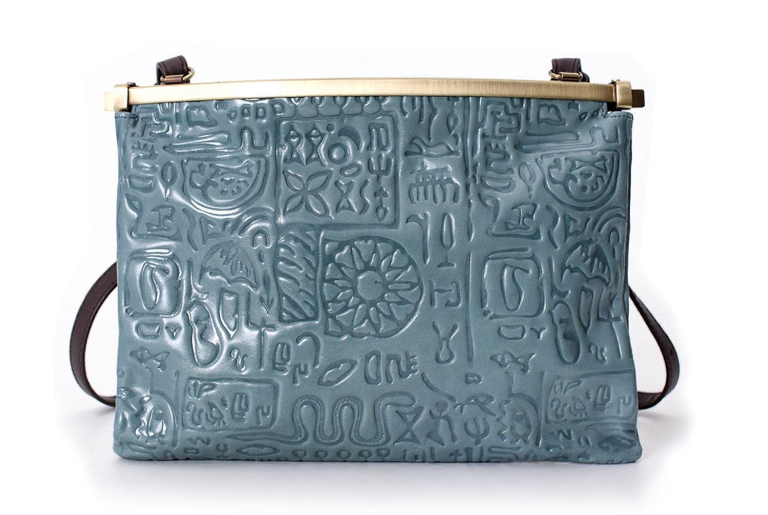La Poet Women's Vintage Embossed Calfskin Leather Clip Closure Cross Body Frame Handbag (Smokey Blue)