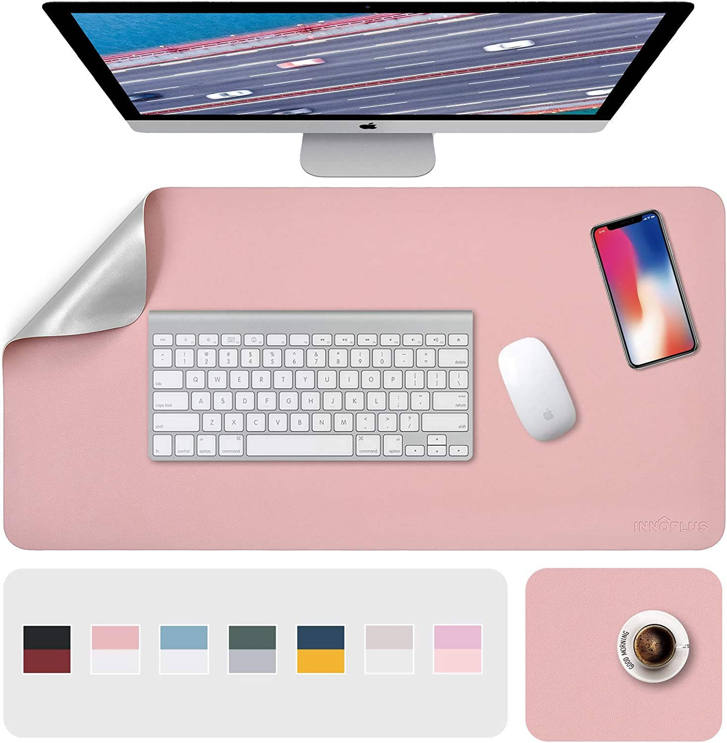 """Desk Pad, Desk Mat, Mouse Mat, XL Desk Pads Dual-Sided Pink/Sliver, 31.5"""" x 15.7"""" + 8""""x11"""" PU Leather Mouse Pad 2 Pack Waterproof, Mouse Pad for Laptop, Home Office Table Protector Blotter Gifts"""