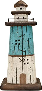 Rustic Wood Lighthouse Decor Tabletop Nautical Decor, Wooden Lighthouse Nautical Decoration Beach Themed Decoration Coastal Decor Lighthouse Decoration for Home Mediterranean Decor