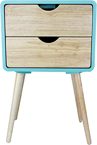 Heather Ann Creations Euro Collection 2 Drawer Accent Storage Cabinet, Aqua